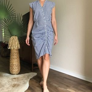 Chelsea28 stripe ruched shirt dress sz 4 Nordstrom